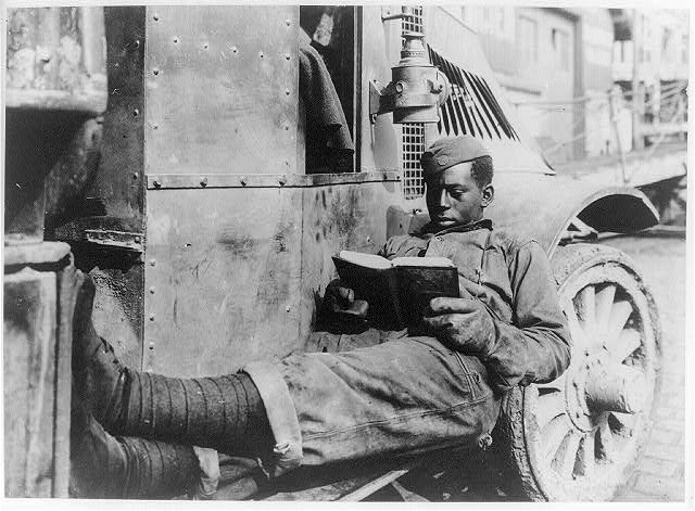 Reading on a salvage truck