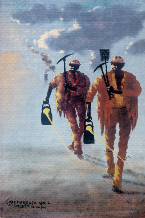 Miners carrying their working tools