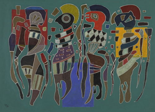Wassily-Kandinsky-4-Figuren-auf-3-Quadraten-October-November-1923