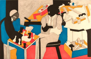 Jacob Lawrence builders playing chess