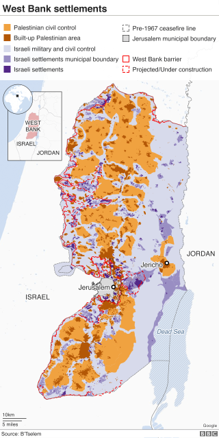 West Bank with Jewish settlements