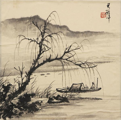 Chinese landscape boat
